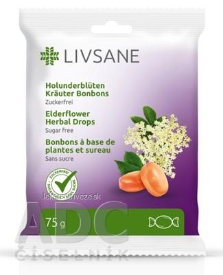 LIVSANE Bylinné pastilky bazový kvet bez cukru, s vitamínom C, 1x75 g