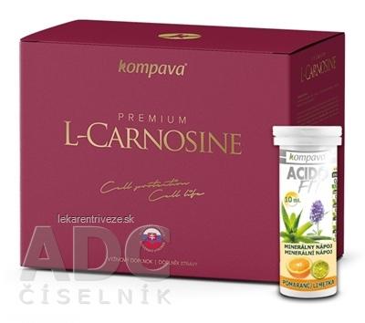 kompava Premium L-Carnosine + Darček cps 60 ks + ACIDO FIT tbl eff 10 ks grátis, 1x1 set