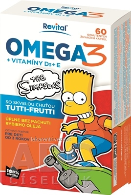 Revital OMEGA 3 + VITAMÍNY D3 + E The Simpsons žuvacie kapsuly 1x60 ks