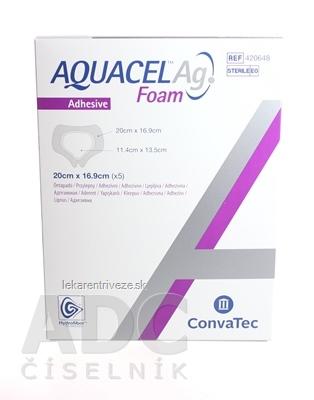 AQUACEL Ag Foam adhezívne penové krytie sacral, so striebrom, so silikónovým okrajom, 16,9x20 cm, 1x5 ks