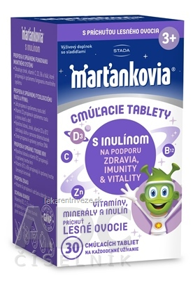 STADA Marťankovia s inulínom cmúľacie tablety príchuť lesné ovocie 1x30 ks