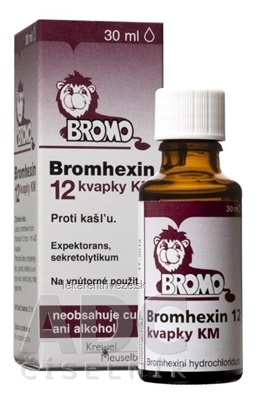 BROMHEXIN 12 KVAPKY KM gtt por (liek.skl.hnedá+kvapkadlo) 1x30 ml
