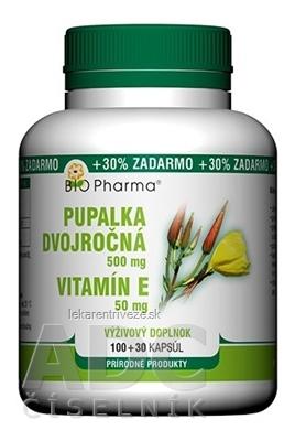 BIO Pharma Pupalka dvojročná 500 mg, Vit. E 50 mg cps 100+30 (30% ZADARMO) (130 ks)
