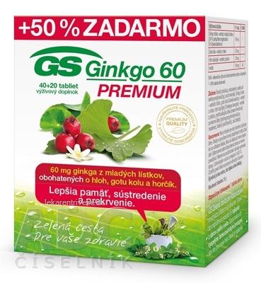 GS Ginkgo 60 PREMIUM tbl 40+20 zadarmo (60 ks)