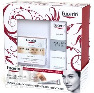 Eucerin HYALURON-FILLER+ELASTICITY denný krém 50 ml + HYALURON-FILLER očný krém 15 ml zadarmo, 1x1 set