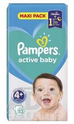 PAMPERS active baby Maxi Pack 4+ MaxiPlus detské plienky (10-15 kg)(inov.2018) 1x53 ks