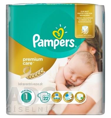 PAMPERS PREMIUM Care 1 Newborn detské plienky, od narodenia (2-5 kg) 1x22 ks