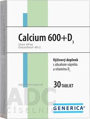 GENERICA Calcium 600+D3 tbl 1x30 ks