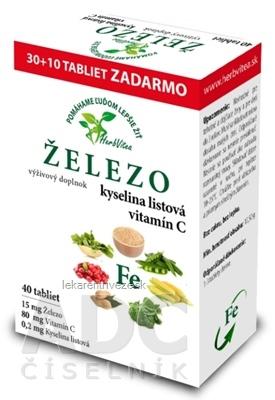 HerbVitea ŽELEZO, kyselina listová, vitamín C tbl (30+10 zadarmo) (40 ks)