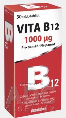 Vitabalans VITA B12 1000 µg žuvacie tablety s príchuťou mäty 1x30 ks