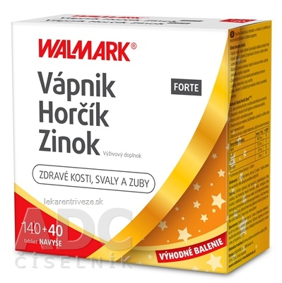 WALMARK Vápnik Horčík Zinok FORTE PROMO 2020 tbl 140+40 ks navyše (180 ks)