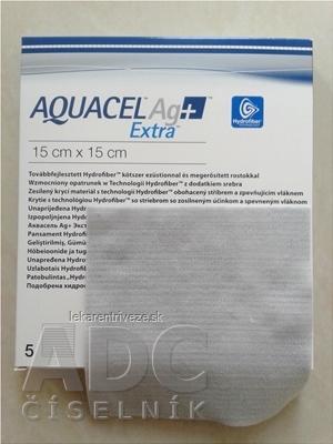 AQUACEL Ag+ Extra krytie na rany so striebrom so zosilneným účinkom, 15x15 cm, 1x5 ks
