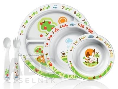 AVENT SADA NA KŔMENIE OD 6 M+ (2 misky, delený tanier,vidlička, lyžička), 1x1 set