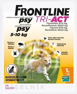 FRONTLINE TRI-ACT Spot-On pre psy S sol (na kožu, psy 5-10 kg) 1x1 ml