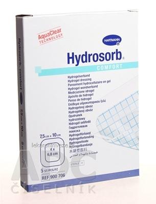 HYDROSORB COMFORT kompres absorpčný hydrogélový, so samolepiacim okrajom (7,5x10 cm) 1x5 ks