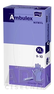 Ambulex rukavice NITRYLOVÉ veľ. XL, fialové, nesterilné, nepúdrované, 1x100 ks