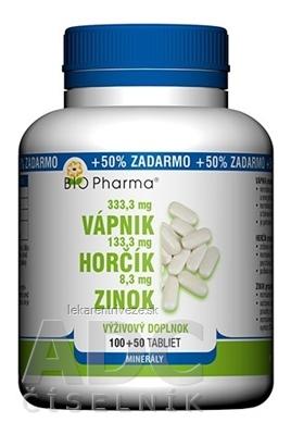 BIO Pharma Vápnik, Horčík, Zinok tbl 100+50 (50% ZADARMO) (150 ks)