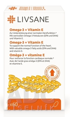 LIVSANE Omega-3 plus vitamín E cps (inov.2019) 1x60 ks