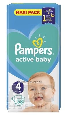 PAMPERS active baby Maxi Pack 4 Maxi detské plienky (9-14 kg)(inov.2018) 1x58 ks
