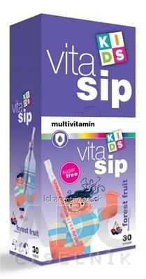 VitaSip KIDS multivitamín granulát v slamke s príchuťou lesného ovocia 1x30 ks