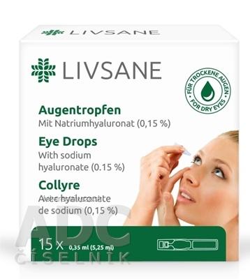LIVSANE Očné kvapky zvlhčujúce, s hyaluronátom sodným 15x0,35 ml (5,25 ml)