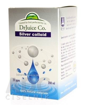 DrJuice Silver colloid koloidné striebro 20 ppm, 1x200 ml