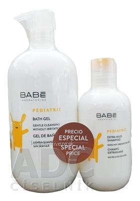 BABÉ DIEŤA Balíček Kúpeľový gél + šampón (Pediatric Bath gel, pH6 1x500 ml + Pediatric Extra mild shampoo, pH7 1x200 ml) 1x1 set