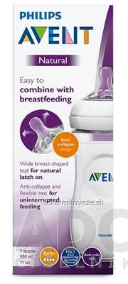 AVENT FĽAŠA Natural PP 330 ml cumlík anti-collapse (6m+), mäkký, rýchly (SCF036/17) 1x1 ks