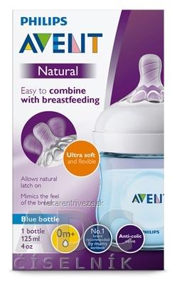 AVENT FĽAŠA Natural PP 125 ml Modrá, cumlík ultra soft (0m+) novorodenecký, mäkký (SCF032/17) 1x1 ks
