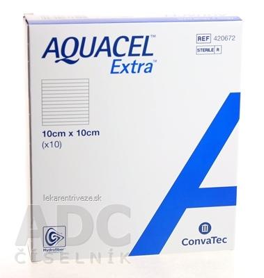 AQUACEL EXTRA Krytie na rany so spevneným vláknom, 10x10 cm, 1x10 ks