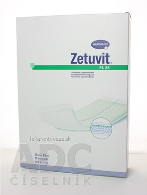 ZETUVIT Plus kompres nasiakavý sterilný (20x25 cm) 1x10 ks
