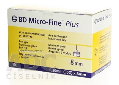BD MICRO FINE PEN NEEDLE 30G  - ihly do aplikátorov inzulínu (0,30 x 8 mm) 1x100 ks