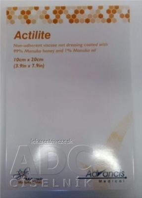 ACTILITE krytie na rany antimikrobiálne 10x20 cm, neadherentná viskóza, napustené manukou 1x10 ks