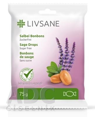LIVSANE Bylinné pastilky šalvia bez cukru, s vitamínom C, 1x75 g