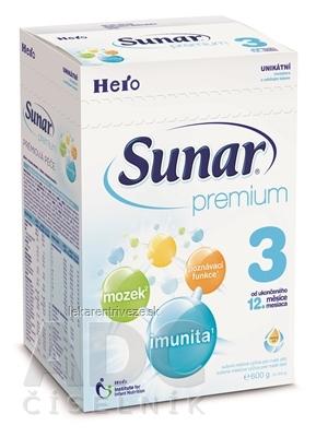 Sunar Premium 3, nový mliečna výživa (od ukonč. 12. mesiaca ), 1x600 g
