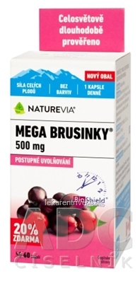 SWISS NATUREVIA MEGA BRUSNICE 500 mg cps (20% zdarma) 1x60 ks