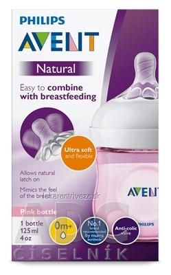AVENT FĽAŠA Natural PP 125 ml Ružová, cumlík ultra soft (0m+) novorodenecký, mäkký (SCF031/17) 1x1 ks
