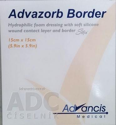 ADVAZORB BORDER krytie na rany samopriľnavé, atraumatické 15x15 cm, 1x10 ks