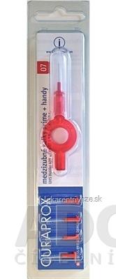 CURAPROX CPS 07 prime + handy červená medzizubné kefky 5 ks + handy držiak UHS 409, 1x1 set