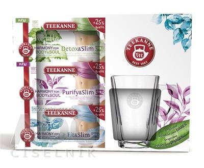 TEEKANNE WELLNESS ON-PACK + Pohárik bylinné čaje, Harmony (+25%gratis) (Detox&Slim + Purify&Slim + Fit&Slim) + Darček,1x1set
