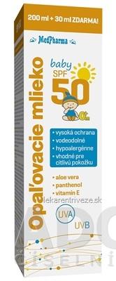 MedPharma OPAĽOVACIE MLIEKO BABY SPF 50 pre deti 200+30 ml zdarma (230 ml)