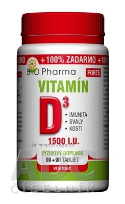 BIO Pharma Vitamín D3 FORTE cps 90+90 (100% ZADARMO) (180 ks)