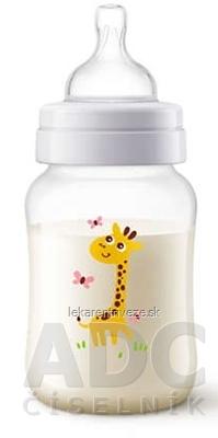 AVENT FĽAŠA Klasik+, PP 260 ml Žirafa, cumlík 2 otvory, extra mäkký s pomalým prietokom, 1x1 ks