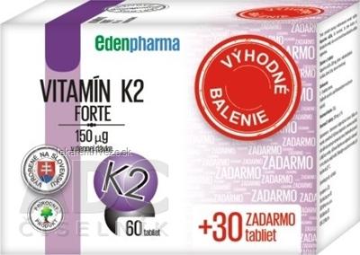EDENPharma VITAMÍN K2 Forte Vianoce tbl 60+30 zadarmo (90 ks)