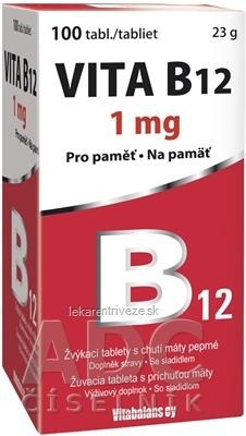 Vitabalans VITA B12 1 mg žuvacie tablety s príchuťou mäty 1x100 ks