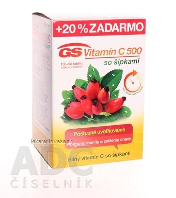 GS Vitamín C 500 so šípkami 2016 tbl 100+20 (20 % zadarmo) (120 ks)