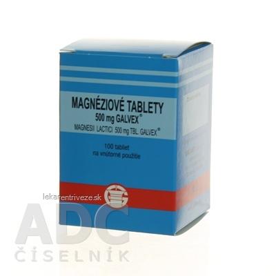 Magnesii lactas Galvex 500 mg (Magnéziové tablety) tbl 0,5 g (obal PE) (MAGNESII LACTICI 500MG) 1x100 ks