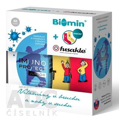 Biomin IMUNO PROTECT JUNIOR + darček Fusakle cps 1x60 ks + darček: detské ponožky 1x1 pár, 1x1 set