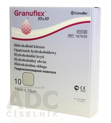 GRANUFLEX hydrokoloidný obväz 10x10 cm, 1x10 ks