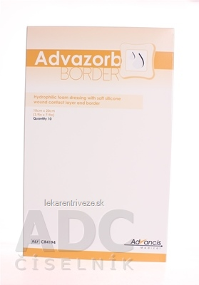 Advazorb Border krytie na rany samopriľnavé atraumatické10x20 cm 1x10 ks